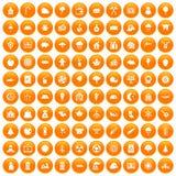 100 lumberjack icons set orange. 100 lumberjack icons set in orange circle isolated vector illustration vector illustration