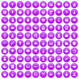 100 lumberjack icons set purple. 100 lumberjack icons set in purple circle isolated vector illustration stock illustration