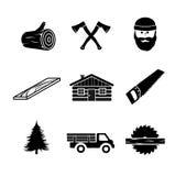 Lumberjack ikony ustalona ilustracja Obrazy Stock