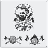 Lumberjack label, axes and design elements. Hipster vintage style. Royalty Free Stock Photo