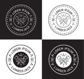 Lumberjack label design. Hipster and lumberjack modern wood style Stock Images