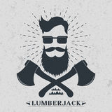 Lumberjack label, logo, t-shirt design Vector illustration Royalty Free Stock Photos