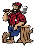 Lumberjack lean on the wood log. Vector of lumberjack lean on the wood log Stock Image
