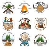 Lumberjack Logo Emblems Labels Set vector illustration