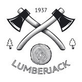 Lumberjack Logo Symbol Hatchet Axe Wood Rings Cut. Tree Icon Isolated Vector Illustration royalty free illustration