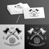 Lumberjack Logo Symbol Hatchet Axe Wood Rings Cut Royalty Free Stock Photos