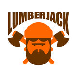 Lumberjack logo. Woodcutter sign. lumberman symbol. feller with Royalty Free Stock Photography