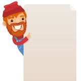Lumberjack looking at blank poster. In the EPS file, each element is grouped separately. Isolated on white background. JPG with paths Royalty Free Stock Images