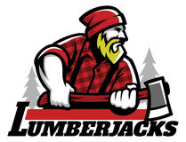 Lumberjack mascot holding the axe Stock Photo