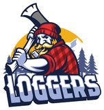 Lumberjack mascot swinging the axe Stock Images