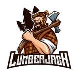 Lumberjack maskotki sporta loga Nowożytny szablon royalty ilustracja