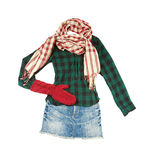Lumberjack miniskirt fashion look. Isolated on white background. Clipping path included Stock Photography