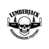 lumberjack Modello dell'emblema con la sega ed il cranio della mano Progetti l'elemento per il logo, l'etichetta, l'emblema, segn illustrazione di stock