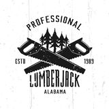 Lumberjack monochrome vector emblem, badge, label. Or logo in vintage style isolated on background with removable textures vector illustration