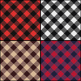 Lumberjack plaid diagonal seamless pattern set. Royalty Free Stock Photography