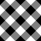 Lumberjack plaid pattern in black and white. Diagonal arrangement. Seamless vector pattern. Simple vintage textile Royalty Free Stock Image