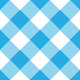 Lumberjack plaid pattern in blue and white. Diagonal arrangement. Seamless vector pattern. Simple vintage textile design Stock Images
