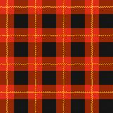 Lumberjack plaid pattern. Red tartan seamless vector background. Alternating overlapping black and colored cells. royalty free illustration