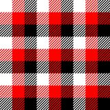Lumberjack plaid pattern in red, white and black. Seamless vector pattern. Simple vintage textile design stock illustration