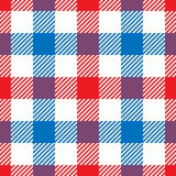 Lumberjack plaid pattern in red, white and blue. Seamless vector pattern. Simple vintage textile design vector illustration