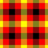 Lumberjack plaid pattern in red, yellow and black. Seamless vector pattern. Simple vintage textile design in colors of royalty free illustration