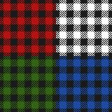 Lumberjack plaid seamless pattern flannel set, Alternating colorful squares checkered background. Scottish cage. Vector royalty free illustration