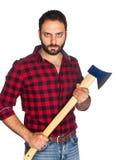 Lumberjack with plaid shirt Stock Photo