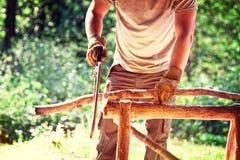 Lumberjack. Portrait of lumberjack in nature Royalty Free Stock Image