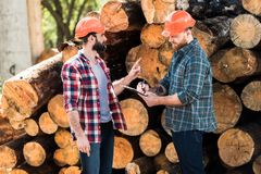 lumberjack in protective helmet pointing by finger on logs to partner while he writing stock photography