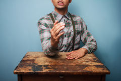 Lumberjack ready to arm wrestle Royalty Free Stock Images