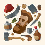 Lumberjack with red beard and his stuff Stock Image