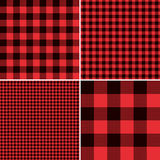 Lumberjack Red Buffalo Check Plaid and Square Pixel Gingham Patterns. Four seamless vector pattern tiles with Red Black Buffalo Check Plaid and Square Pixel