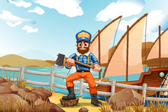 A lumberjack at the riverbank with a ship Stock Image