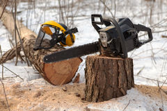 Lumberjack's equipment. Chain saw on pine stump and protective visor with hearing protection on the fallen tree in winter Stock Image