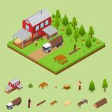 Lumberjack and Sawmill Building Isometric View. Vector. Lumberjack and Sawmill Building with Elements Isometric View Logging Transport, Workers and Woodcutte Stock Photography