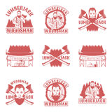 Lumberjack set of vector vintage emblems, labels, badges and logos in monochrome style on white background Royalty Free Stock Photography