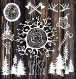 Lumberjack set on the wooden background royalty free stock image