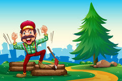 A lumberjack shouting while chopping the woods Stock Images