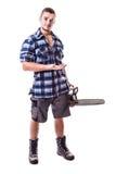 Lumberjack showing something Stock Images