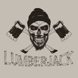 Lumberjack-skull with axes. Royalty Free Stock Images