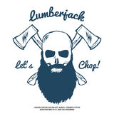 Lumberjack Skull with beard and Crossed Axes Vector Stock Images