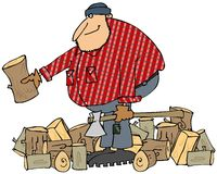 Lumberjack splitting wood. This illustration depicts a large man in a flannel shirt holding an axe and splitting logs Royalty Free Stock Photos