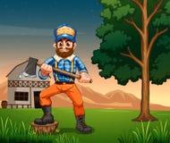 Lumberjack standing near the tree royalty free illustration