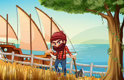 A lumberjack standing at the riverbank with a wooden ship Royalty Free Stock Photo