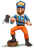 A lumberjack stepping on a stump Royalty Free Stock Photo