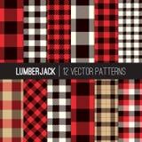 Lumberjack szkocka krata i Bawoliego czeka wektoru Bezszwowi wzory w rewolucjonistce, czerni, bielu i dębniku, Obraz Royalty Free