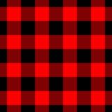 Lumberjack szkockiej kraty wzór w czerwieni i czerni wektor bezszwowy wzoru Prostego rocznika tekstylny projekt Obraz Stock