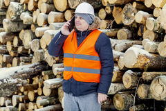 Lumberjack talking on the smartphone near piles of logs in winter Royalty Free Stock Photography