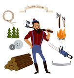 Lumberjack, timber and woodworking tools vector icons  on white background. Lumberjack, timber and woodworking tools vector icons Royalty Free Stock Images