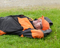 Lumberjack tired and resting Royalty Free Stock Photo